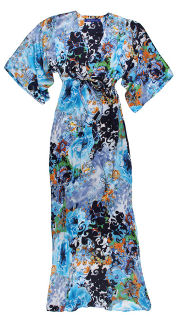 The Maxi Lounge - Super soft and flowing with a kimono sleeve. You can wear it dressed up or casual. Easy and comfortable to slide into as it fits all shapes and sizes with a tie to cinch above the waist. This stunning print is fun to accessorize and dress it up with a beautiful sandal, or just your favorite flip flops. 100% Poly (Looks & feels like silk) Size 1 XXS/XS Fits sizes 2-6 Size 2 S/M Fits sizes 8-10 Size 3 L/XL Fits sizes 12-14