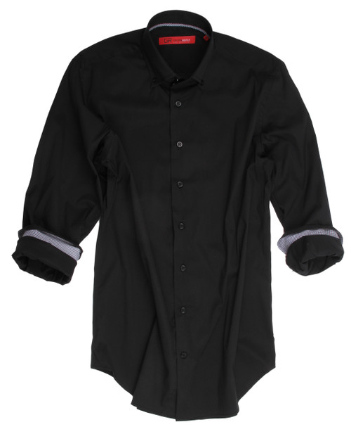 A Black shirt is a great enhancement to any wardrobe.   Pair it up with jeans or trousers and you have a great look of distinction.   The imported European fabric of a combination of 75% cotton, 21% Polyamide, 4% Elasthane which gives it not only a crisp feel but a small amount of stretch for comfort and ease.  The collar stand and inside cuffs are of a companion pattern in a mini check for that extra special attention to detail.   High fashion at it's best......this is for you!  Men's Sport Shirt