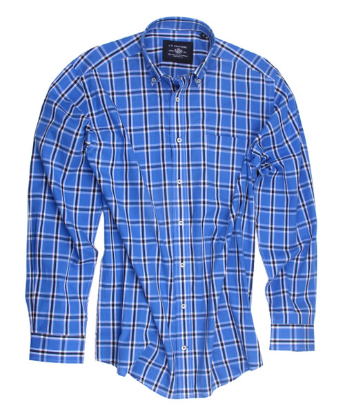 Blue Plaid Cotton Mens Shirt 100 Cotton