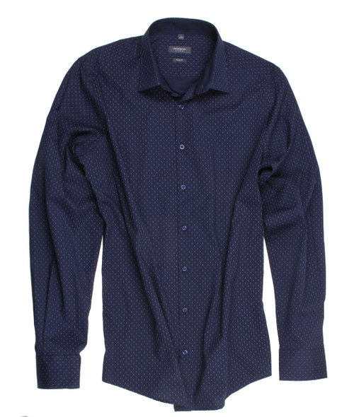 Navy minimal printed stretch Mens Shirt
