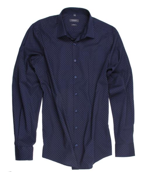 9b58f16ed8b1 Navy minimal printed stretch Mens Shirt