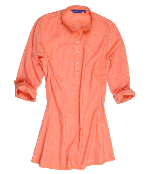 For your crop pants this is it! So soft and comfortable melon solid pull over tunic. European soft dreamy cotton you will love. Banded collar trimmed with subdued sequin trim. Finished with a Orange satin ribbon on the inner front placket. Slightly tapered at the waist Fingertip length 100 Cotton