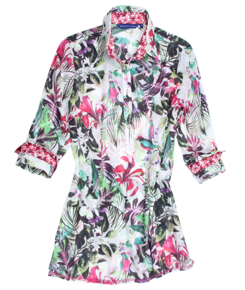 A sophisticated tropical floral you will treasure! A statement piece to wear with white bottoms. Light, airy and flowing cotton voile. Slightly sheer with just enough coverage. Trimmed with a crisp hot pink and white mini floral Liberty of London print inside the collar stand and cuffs.  Long Sleeves/ Contrast shows beautifully with the Georg Roth signature roll of the cuffs. Slightly tapered at the waist Fingertip length 100% Cotton