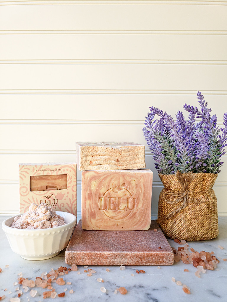 Himalayan Salt Scrub All Natural Handmade Soap  100% Key Lime and Lavender Essential Oil Himalayan Salt and Rose Clay  Lelu Soap Lab