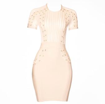Front of Cream Grommet Dress