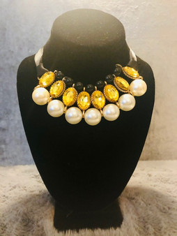 Black and Gold Pearl Necklace