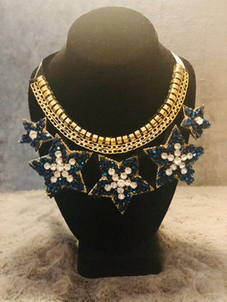 Royal Blue and Gold Star Necklace