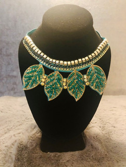 Teal and Gold Leaf Rhinestone Necklace