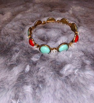 Teal and Red Bracelet