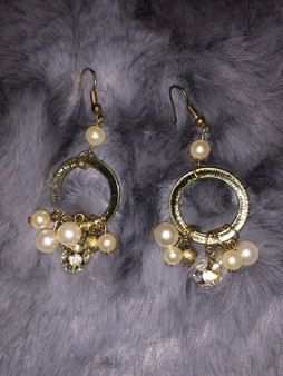 Gold Pearl and Rhinestone Earrings