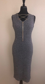 Gray Dress with Decorative Chain