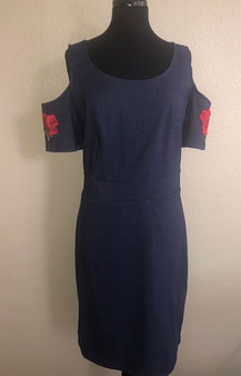 Denim Dress with Flowers