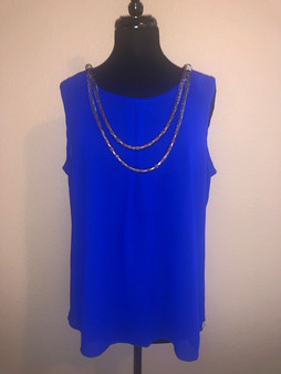 Royal Blue  with Gold Necklace Blouse