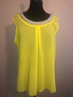 Yellow Pearl Collar Blouse