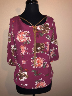 Burgundy Flower Blouse with Gold Necklace
