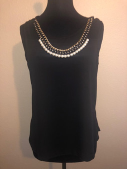 Black Blouse with Pearl Necklace