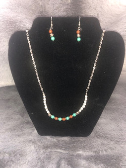 Turquoise and Red Necklace and Earring Set