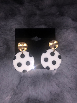 White with Black Dots Earrings