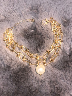 Gold Chain Bracelet with Single Pearl