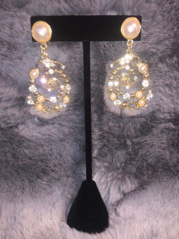 Pearl and Gold Whimsical Earrings