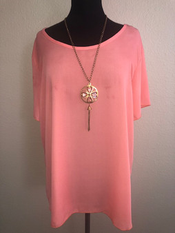 Coral Blouse with Necklace