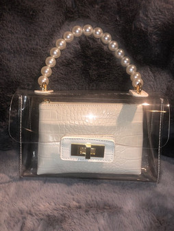 Clear Pearl Handle Purse