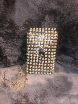 Vertical Clear Pearl Waist Purse