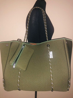 Olive Green Tote with sides opened.