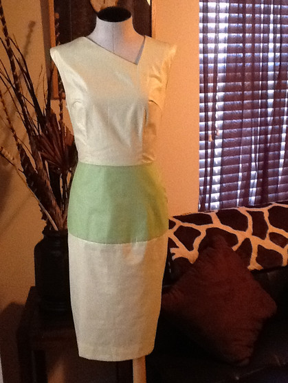 Yellow and Green Color Block Dress