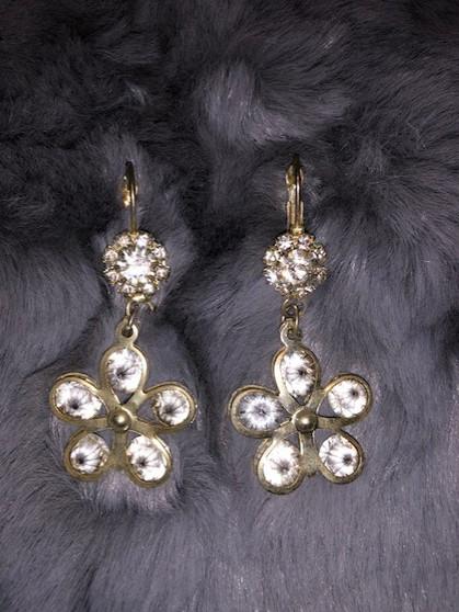 Crystal Rhinestone Flower Earrings