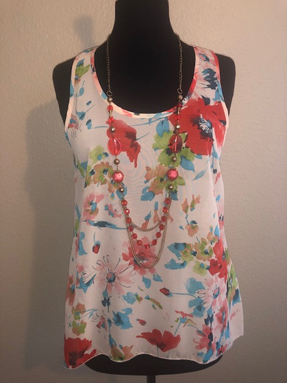Flower Print Blouse with Necklace