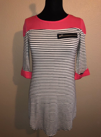 Coral Stripped Top