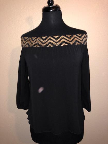 Black and Gold Off Shoulder Blouse