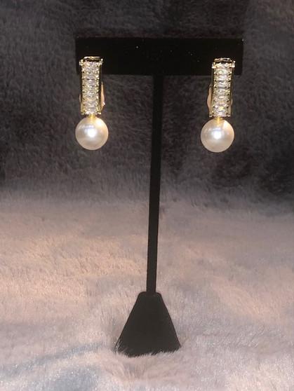 Rhinestone, Gold, and Pearl Earrings