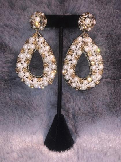 Gold and Pearl Teardrop Earrings