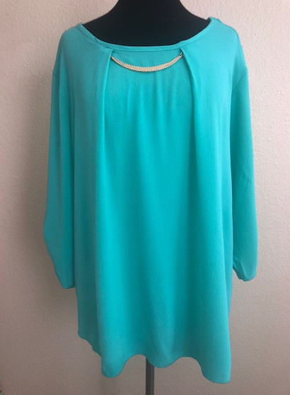 Teal with Gold Necklace Blouse