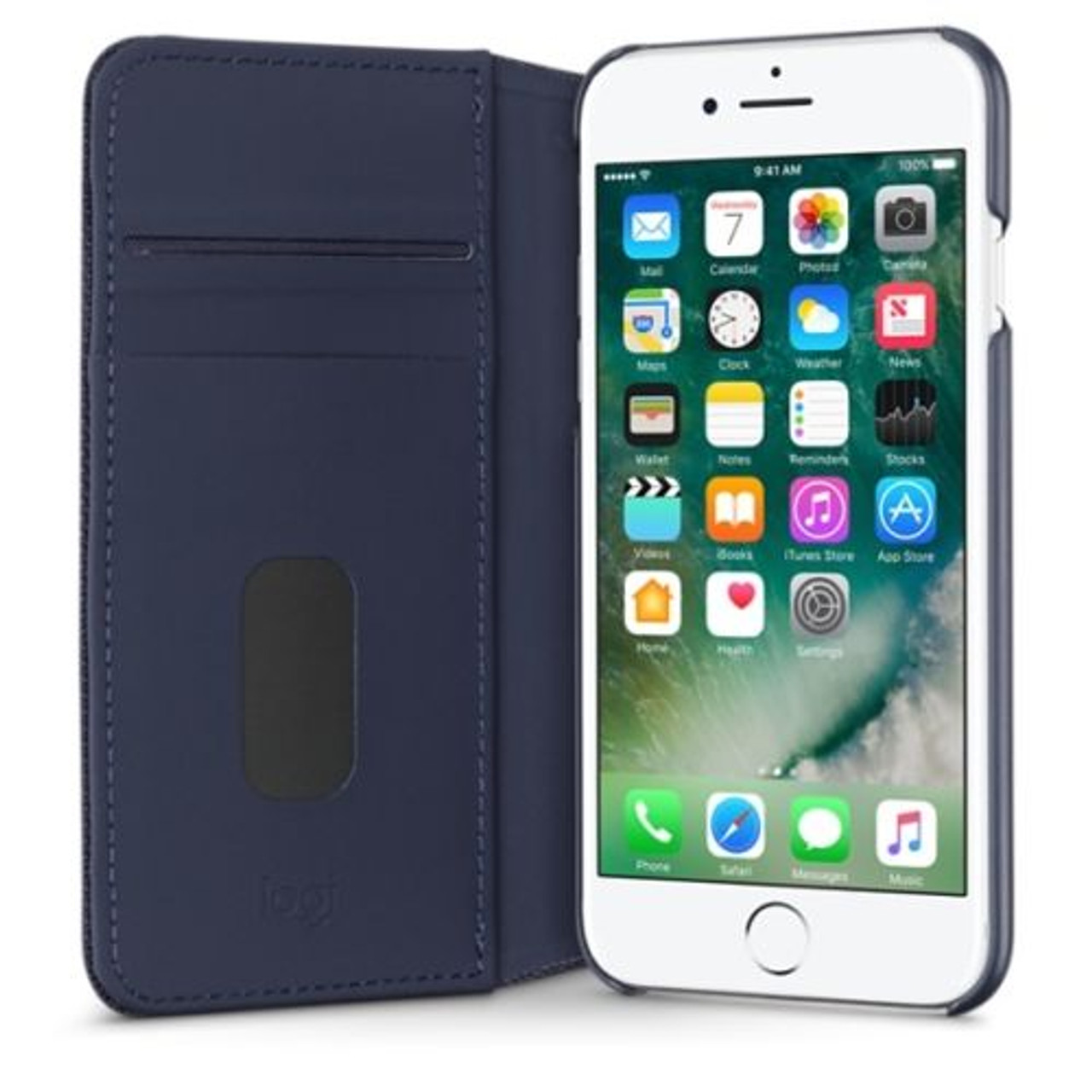 newest e0db8 3faff Logitech Hinge Flexible Wallet Case For iPhone 7 Plus Blue