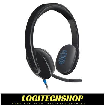 Logitech H540 USB Computer Headset HD Sound and On-Ear Controls-Black