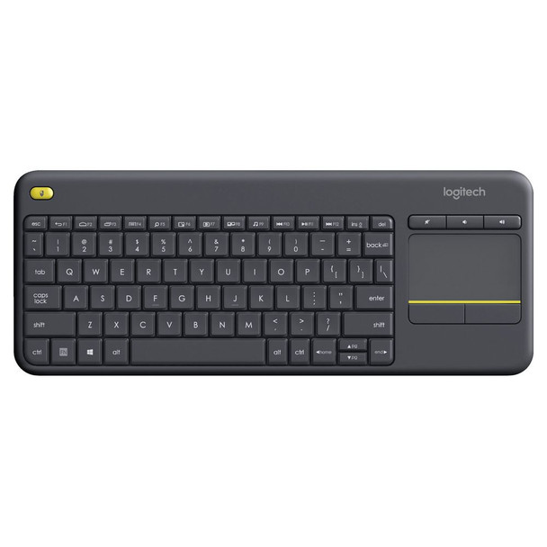 Logitech Wireless Touch Keyboard K400 Plus - PC-to-TV control - Black
