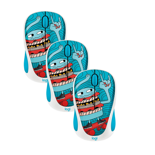 3 X Logitech M238 Wireless Mouse Doodle Collection- Skateburger