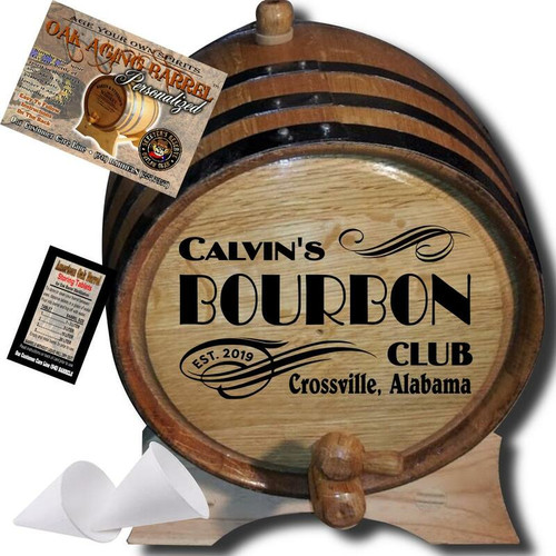 Personalized American Oak Bourbon Aging Barrel (202) - Custom Engraved Barrel From Skeeter's Reserve Outlaw Gear? - MADE BY American Oak Barrel? - (Natural Oak, Black Hoops).