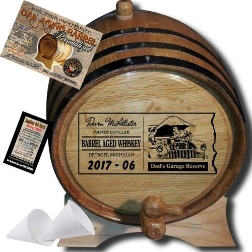 Dad's Garage Reserve (073) - Personalized Aging Barrel From Skeeter's Reserve Outlaw Gear™ - MADE BY American Oak Barrel™ - (Natural Oak, Black Hoops)