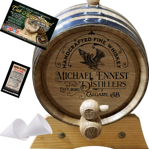 HANDCRAFTED FINE WHISKEY (303) - PERSONALIZED AMERICAN OAK WHISKEY AGING BARREL