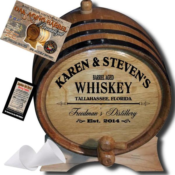 Personalized American Oak Whiskey Aging Barrel (063) - Custom Engraved Barrel From Skeeter's Reserve Outlaw Gear™ - MADE BY American Oak Barrel™ - (Natural Oak, Black Hoops)