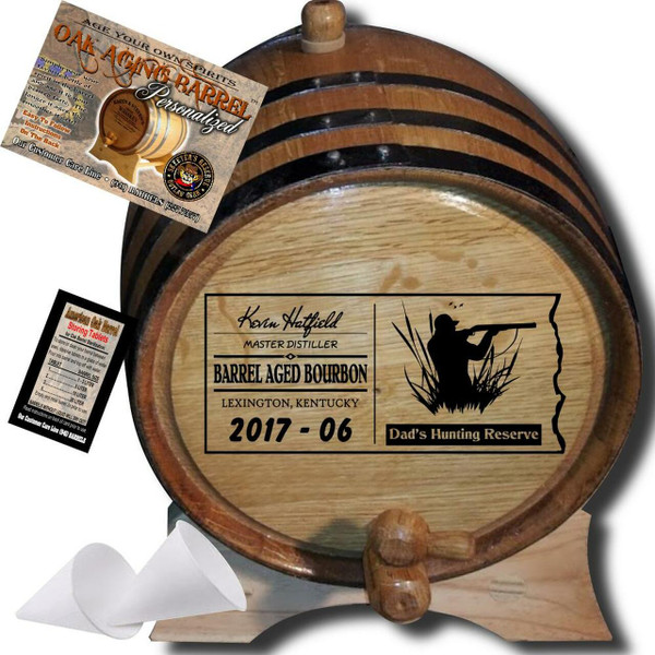 Dad's Hunting Reserve (072) - Personalized Aging Barrel From Skeeter's Reserve Outlaw Gear™ - MADE BY American Oak Barrel™ - (Natural Oak, Black Hoops)