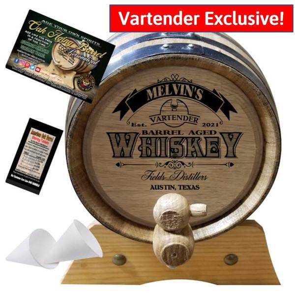 Personalized American Oak Whiskey Aging Barrel - Vartender Exlusive - Custom Engraved Barrel From Skeeter's Reserve Outlaw Gear™ - MADE BY American Oak Barrel™ - (Natural Oak, Black Hoops)