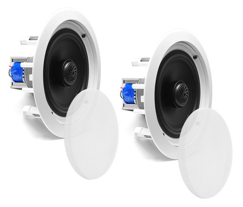 """In-Wall / In-Ceiling Dual 6.5"""" Speaker System, 70V Transformer, 2-Way, White PDIC60T"""