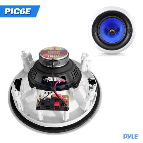 In-Wall / In-Ceiling High Performance Dual 6.5'' Speaker System 250 Watt Two-Way Adjustable Treble Control PIC6E