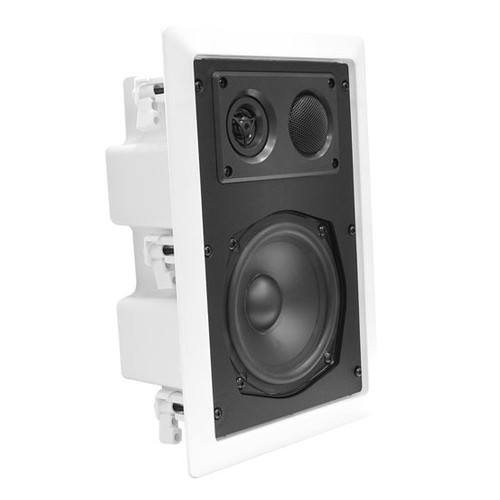 In-Wall / In-Ceiling Dual 6.5'' Enclosed Speaker System, 2-Way, Flush Mount, White PDIW67