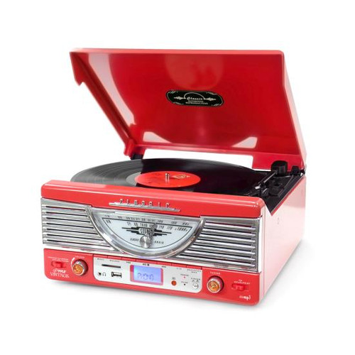 Retro Vintage Classic Style Turntable Vinyl Record Player with USB/MP3 Computer Recording (Red) PTR8UR
